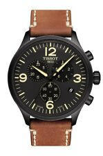 New Tissot Chrono XL Brown Leather Strap Mens Watch T1166173605700