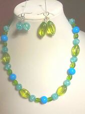 Women's  Green and Blue  Bead Necklace Set