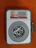 2013 $8 AUSTRALIA SILVER PROOF YEAR OF THE SNAKE NGC PF70 ULTRA CAMEO 5 TROY OZ