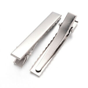 Iron Alligator Hair Clips Silver Rectangle 7.5x10x46mm Pack Of 50+