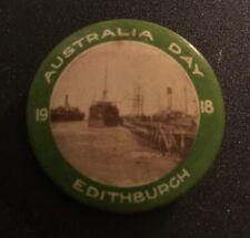 AUSTRALIA DAY EDITHBURGH Button Day WW1 Pin Badge 1918