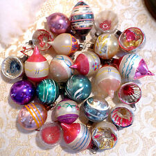 24 Antique Paint Poland German Feather Tree Teardrop Glass Xmas Easter Ornament