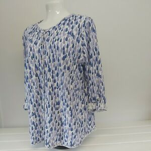 White stuff Ladies Size 12 Patterned Top  Blouse roll tab sleeves organic cotton
