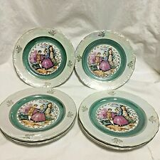 """6, Vintage,Iridescent,7"""" Salad Plates,Victorian Couple design,Made in Japan !!!"""
