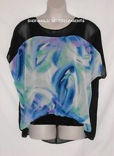 STYLE & CO BLOUSE – FLORAL SEMI-SHEER OVER TANK TOP – BLACK & MULTI – SIZE XL