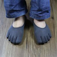 Men's Breathable Five Finger Socks Cotton Sports Toe Socks 5 Pairs Gray White