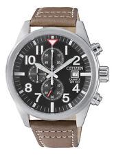 Citizen Men's Quartz Date Chronograph Brown Leather Band 43mm Watch AN3620-01H