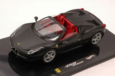 Ferrari 458 Spider 2011 Matt Black Elite Edition 1:43 Model W1184 HOT WHEELS