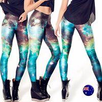 Women Green Galaxy Sky Star Space Print Costume Skinny Stretch Leggings Pants