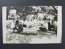 Group Of People At Picnic In Woods Cars Real Photo Postcard 1904-1920