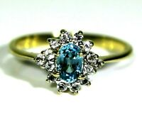 Blue Topaz & Csarite Cluster 9ct Yellow Gold ring size N ~ 6 3/4
