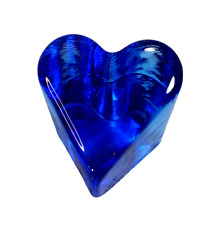 Fire and Light Recycled Glass Cobalt Blue Heart Paperweight Signed 2000 Small