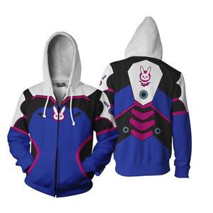 Unisex Overwatch OW DVA Song Hana Hoodie Sweatshirt Cosplay Zipper Hooded Coat