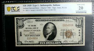 $10 1929 T1  INDIANAPOLIS INDIANA NB  PCGS 20 VERY FINE CH 984 AFFORDABLE