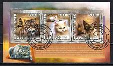 Chats Guinée (32) série complète de 3 timbres oblitérés