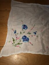 Blue White Pink Flower Floral Embroidered Handkerchief Great Vintage Cond Pretty
