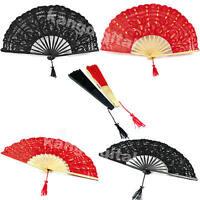 Multi Color Handmade Cotton Lace Folding Hand Fan For Party Bridal Wedding Decor