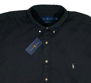 Men's RALPH LAUREN Black Feather Weight Twill S/S Shirt 3XB (3X 3XL BIG) NWT NEW