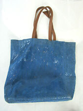 Sorial Womens Embossed Large Shoulder Tote Handbag Blue Leather