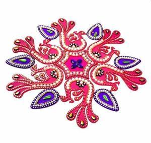Rangoli Floor/Wall/Table Rangoli Decorative Showpiece Pink(Peacock), 13 Pcs Set