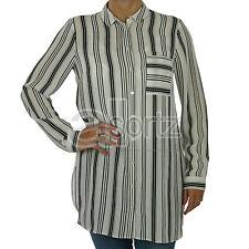 Ladies Womens UK Store White Black Striped Tunic Blouse Top Work Smart Wear