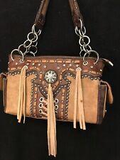 Montana West Brown Purse, Studs, Jewels, Fringe, Lots Of Pockets