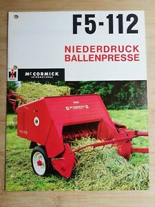 Orig. Schlepper Prospekt IHC Mc Cormick F5-112 Ballenpresse / IH Traktor