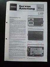 Original Service Manual  Grundig C 4200