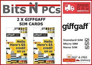 2 x GIFFGAFF SIM CARDS - INCLUDES STANDARD, MICRO & NANO SIM CARD