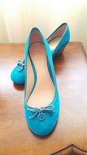 AUTH Tory Burch Women Chelsea 45mm Soho Lux Suede Wedge Turquoise Shoes, sz 6,5.