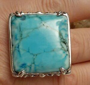 Huge Blue Howlite Gemstone Sterling Silver Overlay Bronze Square Ring Size 7.75