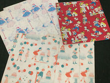 Lot VINTAGE GIFT WRAP wrapping paper Children Birthday Juvenille Boy Girl Dog