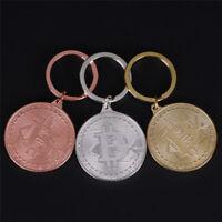BTC Physical Bitcoin Gold Medal Key Ring Chain Fob Keychain Keyring Keychain GX
