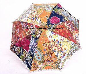 Indien Kantha Brodé Parapluie Coton Protection Soleil Ombrelle Vif Décor