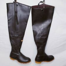 Cabela's Hip Waders Vintage Brown Rubber Fishing Boots Duck Hunting Waterproof