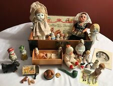 Antique Doll Trunk-filled with Bisque-German-Japan-Dolls & Toys-Nice Variety