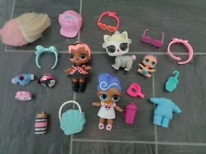 LOL doll bundle-2 dolls with clothes/shoes+pet,lil sister doll+lots accessories