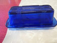 Cobalt Blue Glass Crossed-Striped Covered Butter Dish