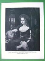 JANE OF ARAGON Portrait by Raphael Santi - Antique Print