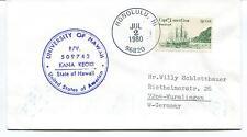 1980 University of Hawaii KANA KEOKI Honolulu James Cook Polar Antarctic Cover