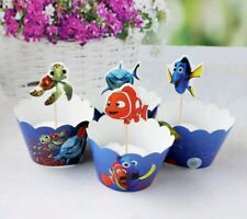 FINDING NEMO DORY CUPCAKE WRAPPERS & TOPPERS 24PCS BIRTHDAY PARTY