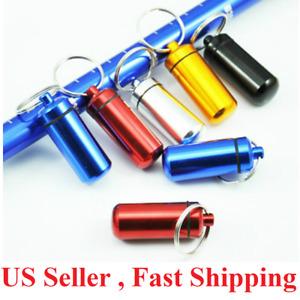 6 pcs Pill Box Keychain Medicine Case Bottle Drug Holder Container Waterproof