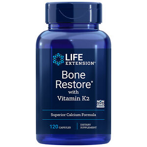 Life Extension Bone Restore with Vitamin K2 (120 ct) Powerful Calcium Formula