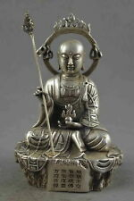 Chinese Collectable Old Miao Silver Hand Carve Scepter Buddha Exorcism Statue