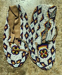 Osage Oklahoma Native American Fully Beaded MOCCASINS Boot Shoe Hand Made.