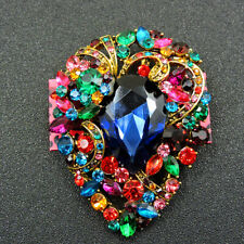 Flower Charm Brooch Pin Gift Betsey Johnson Colorful Rhinestone Exquisite