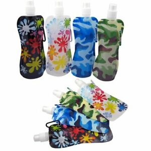 4-Pack Flexible Collapsible Foldable Reusable Water Bottles Pouch BPA Free FAST!