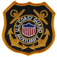 Coast Guard Auxiliary Anchor 4 Inch Black Gold Cap Hat Embroidered Patch F2D4Ek