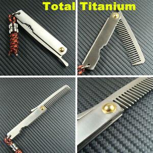 Pure Titanium Comb Ti Folding Anti-allergic Hair Comb With Ti Lanyard Bead EDC