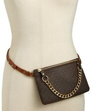 MICHAEL KORS MK Signature Fanny pack size MEDIUM belt Bag CHOCOLATE BROWN NWT